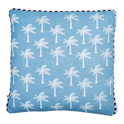 Tiny Palms Dusky Blue Cushion 50x50cm