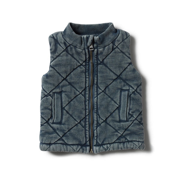 Vest Quilted Steel Blue Washed Back
