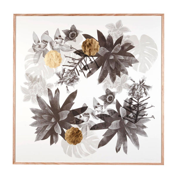 Rare Garden Paper Print Art Large Black/gold 1.2x1.2
