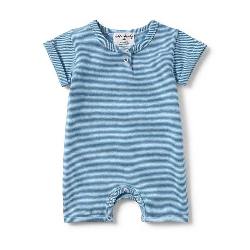 Mediterranean Blue Stripe Placket Detail  Boyleg Growsuit