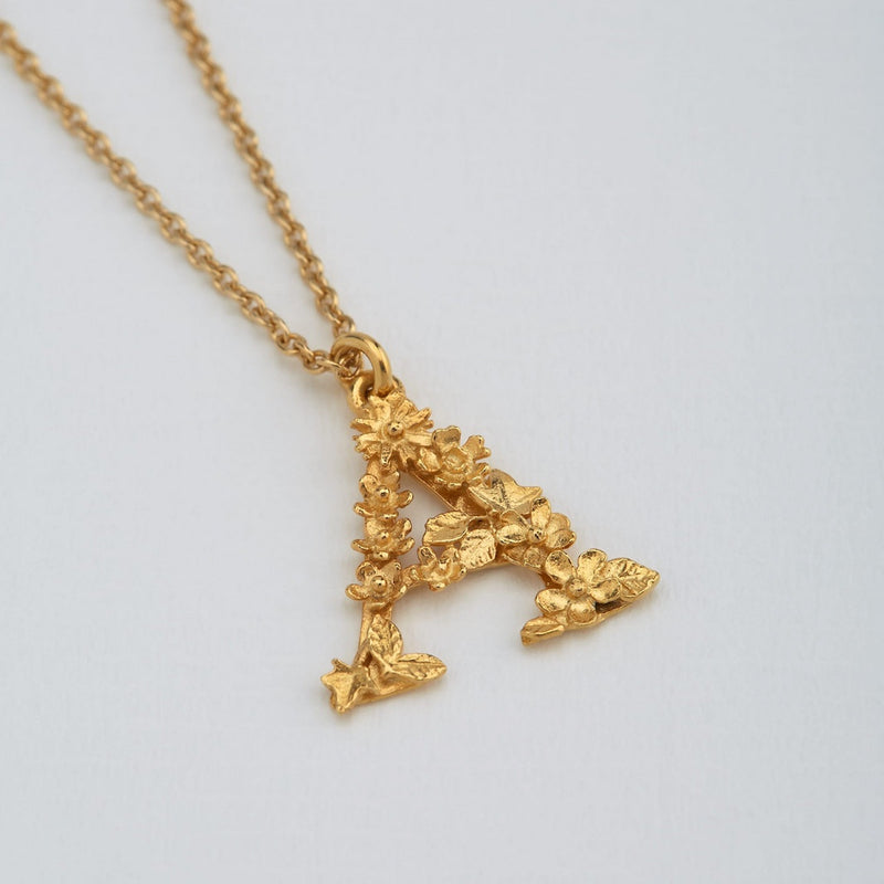 Necklace Floral Letter Gold Plate A