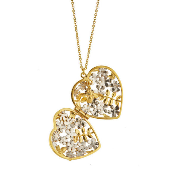Necklace Locket Heart Spring Posy Gold & Silver Mix