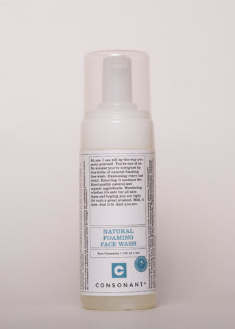 Natural Foaming Face Wash - Consonant Skincare | Goodnight Beauty | face wash, cleanser, consonant, natural skin care, natual beauty, canada beauty, canada brand, made in canada, dry skin, oily skin, sensitive skin