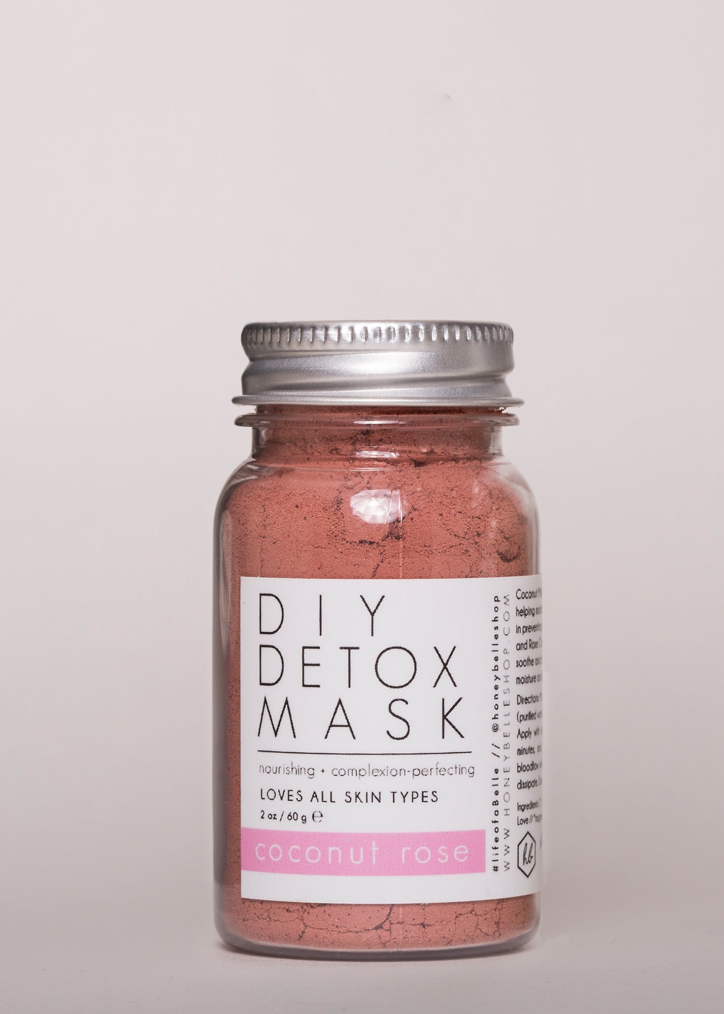 DIY Detox Mask Coconut Rose - Honey Belle | Goodnight Beauty | skin care, natural beauty, clay mask, rose, coconut oil, made in USA