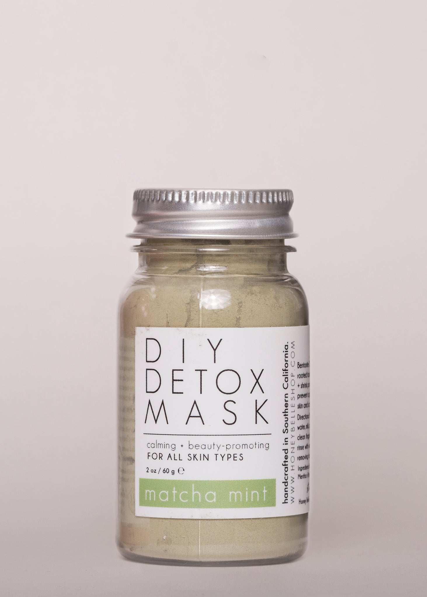 Matcha Mint DIY Detox Mask - Honey Belle | Goodnight Beauty | clay mask, matcha, mint, detox, natural skin care, made in USA
