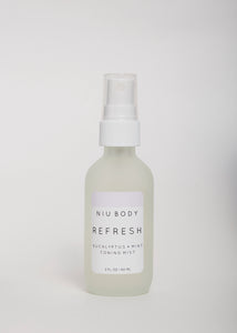 Refresh Eucalyptus Toning Mist - Niu Body | Goodnight Beauty | toner, face mist, essential oil, lavender, natural beauty, natural skin care, skin care, canada beauty, canada brand, made in canada