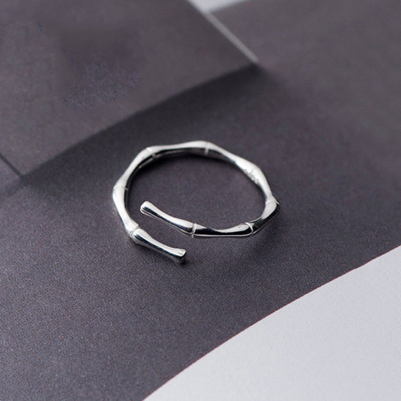 Sterling Silver Bamboo Knot Opening Ring