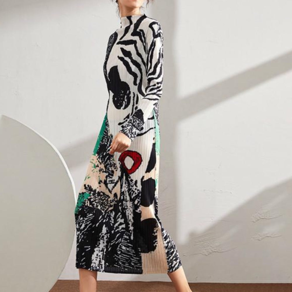 Stand Collar Print Colorblock Long Pleated Dress