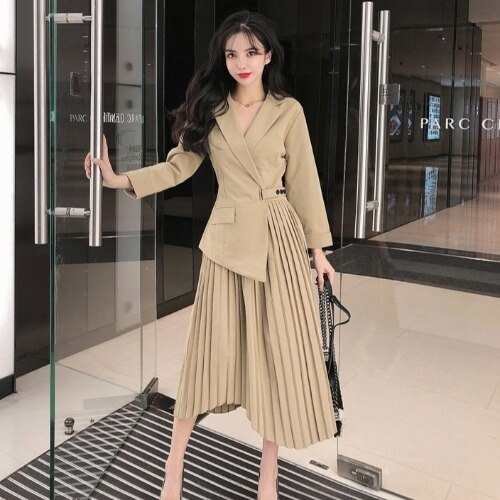 SOPHIA Pleated Suit Dress
