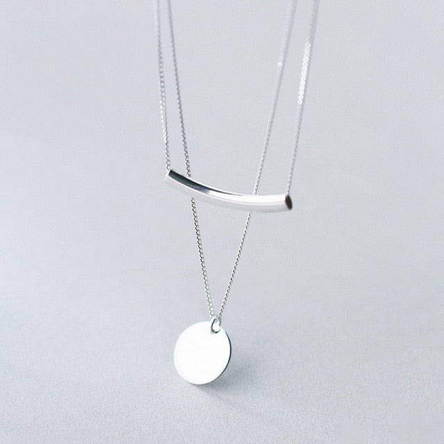 Sterling Silver Layer Chain Choker Pendant Necklace