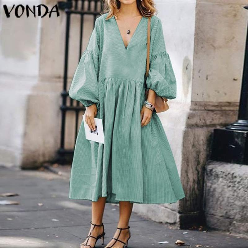 Vintage V Neck Long Lantern Sleeve Mid-Calf Dress