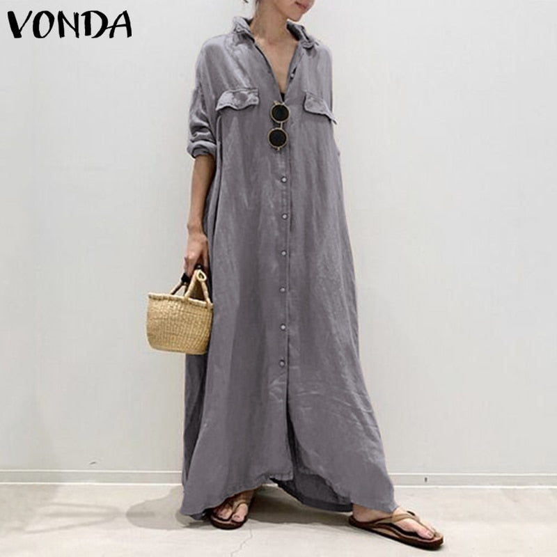 Vintage Turn-down Collar Buttons Maxi Dress