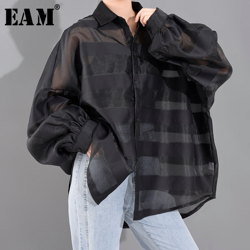 Lapel Long Sleeve Loose Fit Shirt