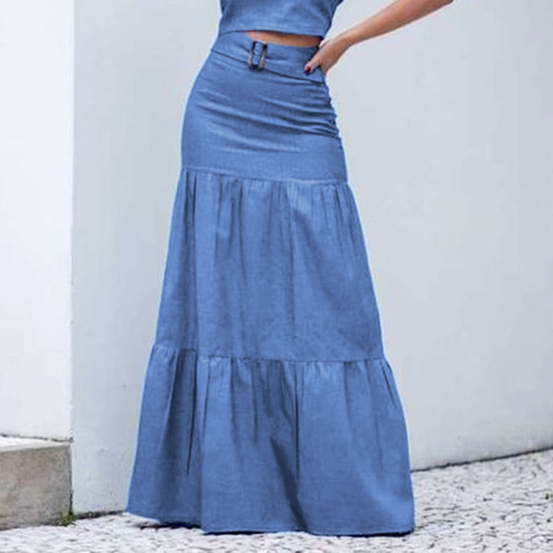 Solid Long Elastic Waist Pleated Maxi Skirts