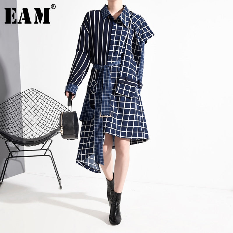 Plaid Split Big Size Dress