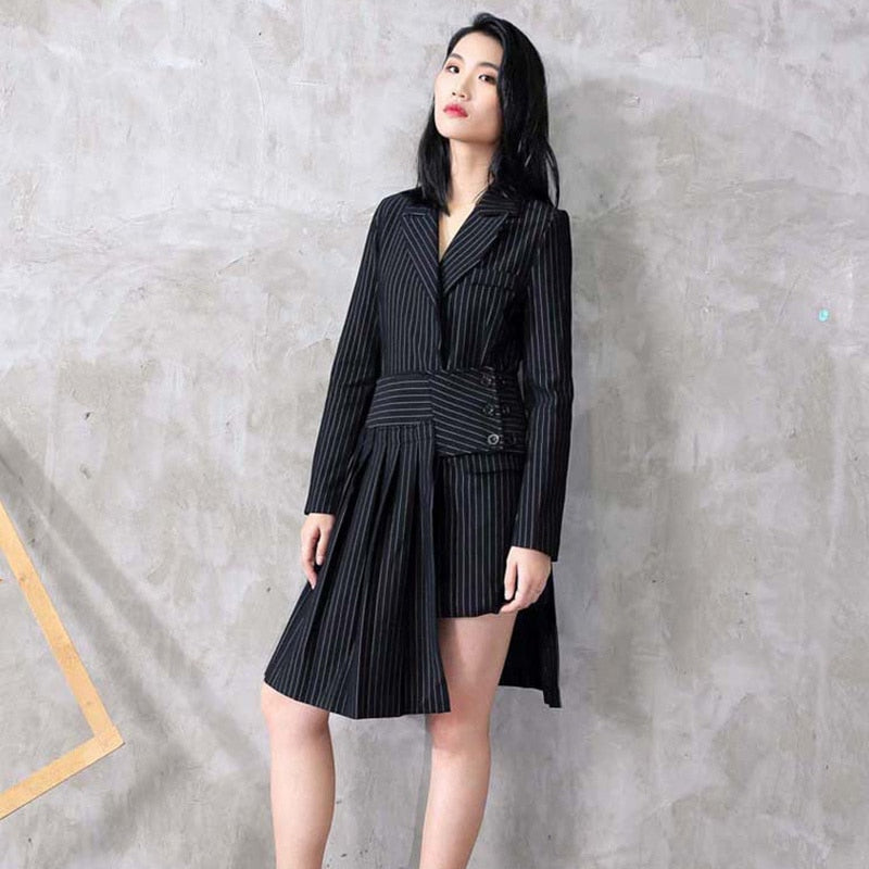 Black Striped Loose Suit Dress