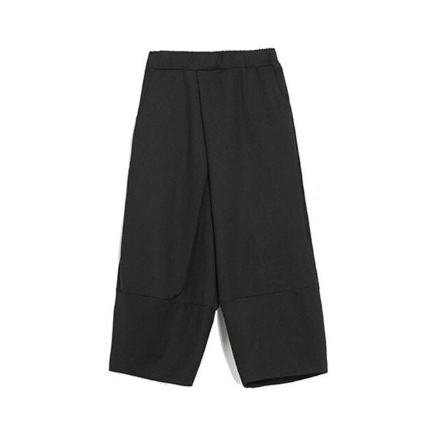 Straight Elastic Waist Calf-length Pants