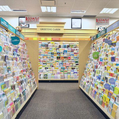 greeting card store aisle