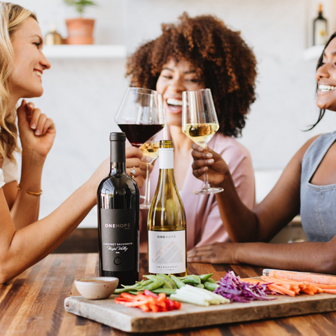 women drinking wine and cheersing