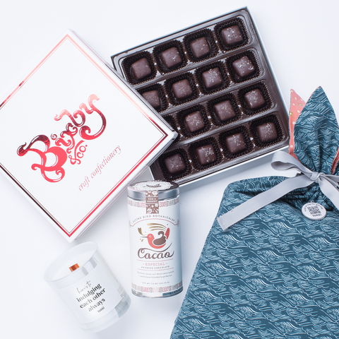 salted caramels and drinking chocolate gift set