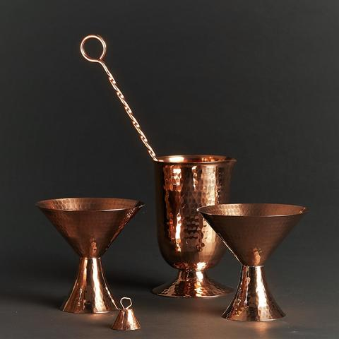 recycled copper martini set