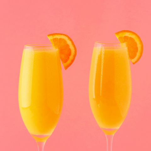mimosas on pink background