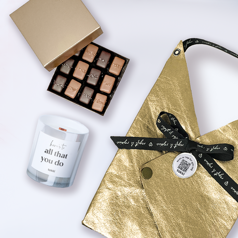 Gray & Smoked Sea Salt Caramels from Fran's Chocolates + Tokki candle and gift bag