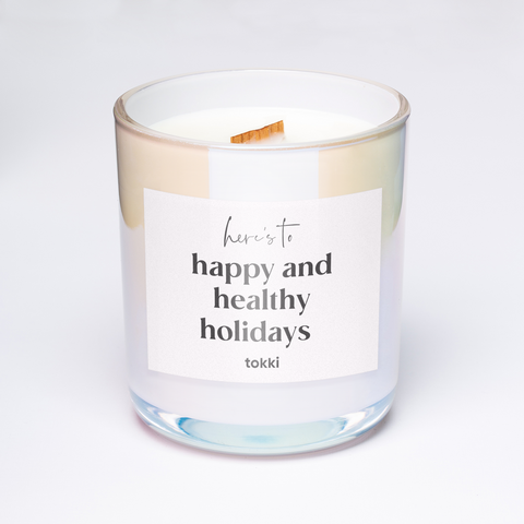 here's to happy and healthy holidays candle