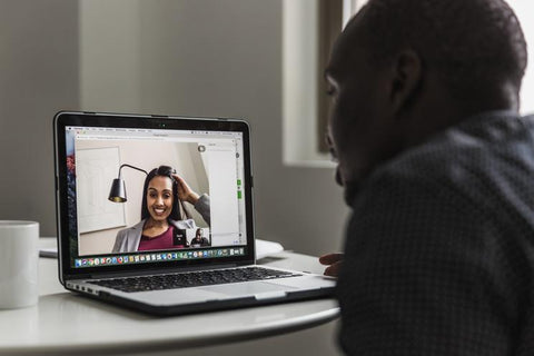 man and woman video chat