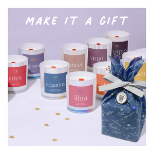 Make a candle a gift with a reusable tokki gift bag + tag