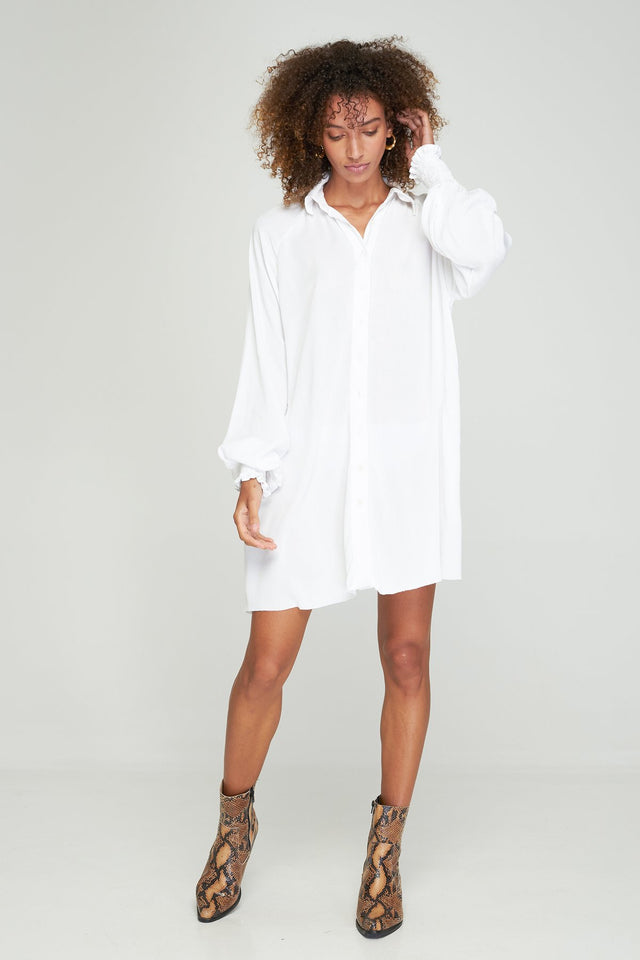 Adaline Shirt Dress White