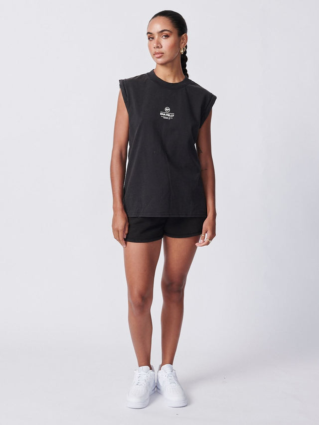 Core Muscle Tank Washed Black