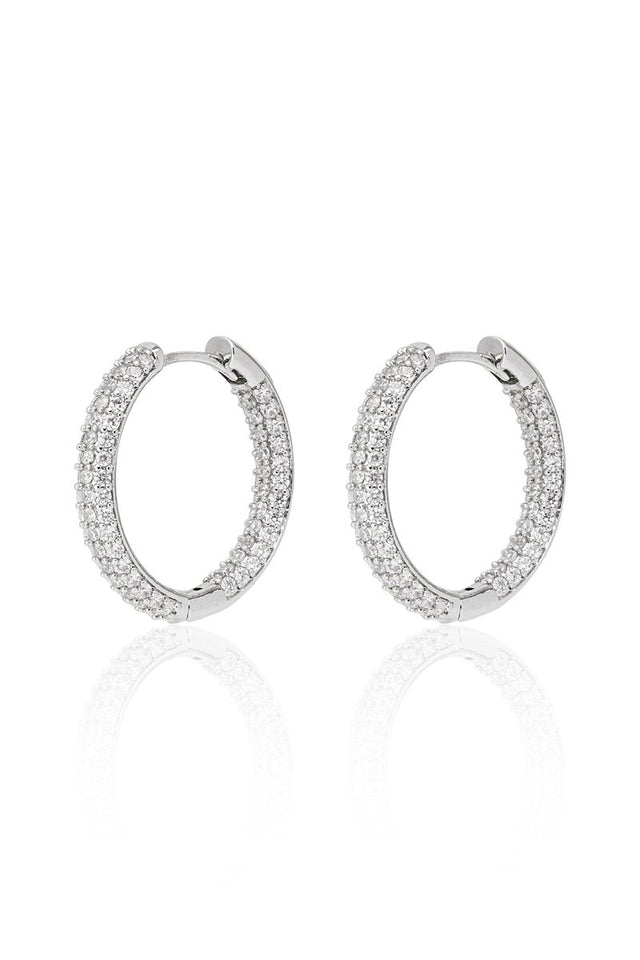 Diamond Hoops Silver