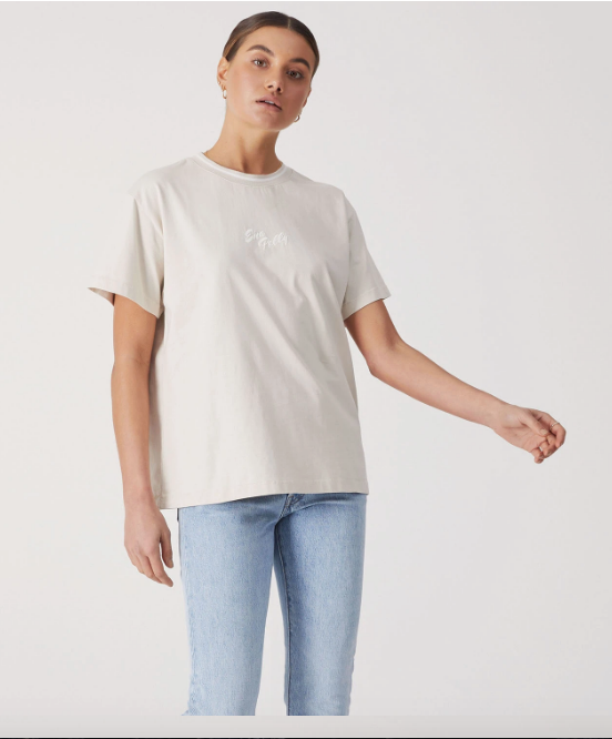 Script Embroidered Tee Sand