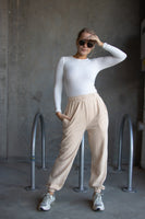 Long Sleeve Crew Neck Bodysuit White