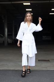 Nude Linen Lounge Robe White