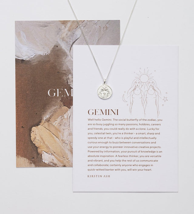 Gemini Zodiac Necklace Silver