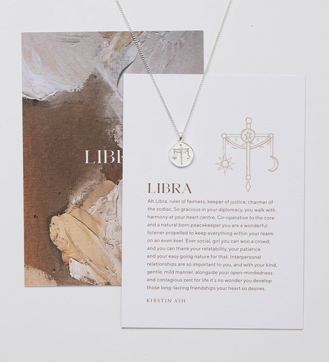 Libra Zodiac Necklace Silver