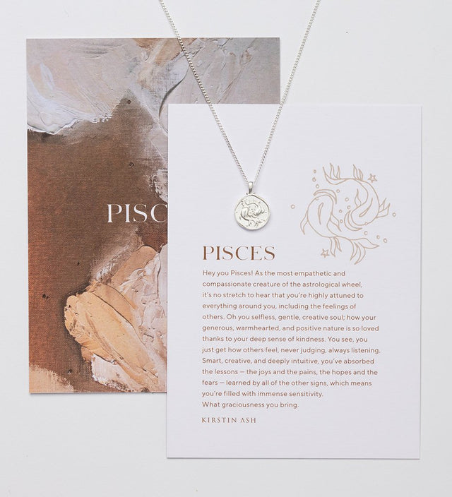 Pisces Zodiac Necklace Silver