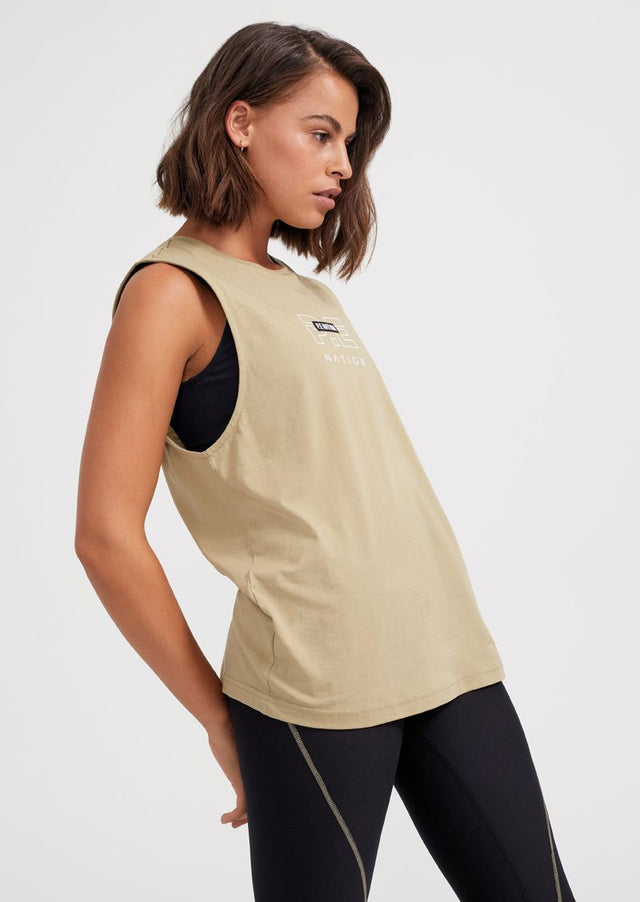 Twist and Serve Tank Olive Gray