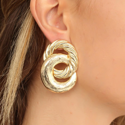 Lumnee Golden Coat Metal Earrings