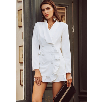 Channy Ruffle Double Breasted Blazer Dress, White