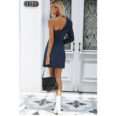 Deborah One shoulder Double Breasted Dress, Blue