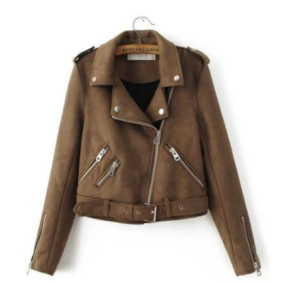 Madi Vegan Suede Moto Jacket, Brown