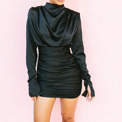 Kelly Satin Ruched Turtleneck Mini Dress