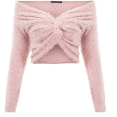 Jessica Off-Shoulder Fuzzy Cross Knitted Sweater