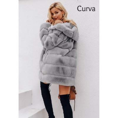 Minnie, Curva, Fluffy Faux Fur Hooded Coat, Gray