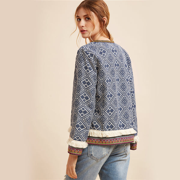 Trinity Embroidered Jacket, Tribal Print