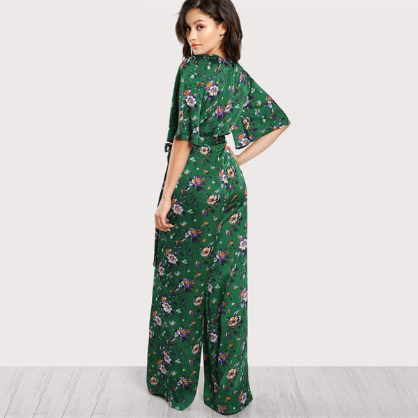 Tara Bell Sleeve Plunge Neck Belted Palazzo Jumpsuit, Multicolor