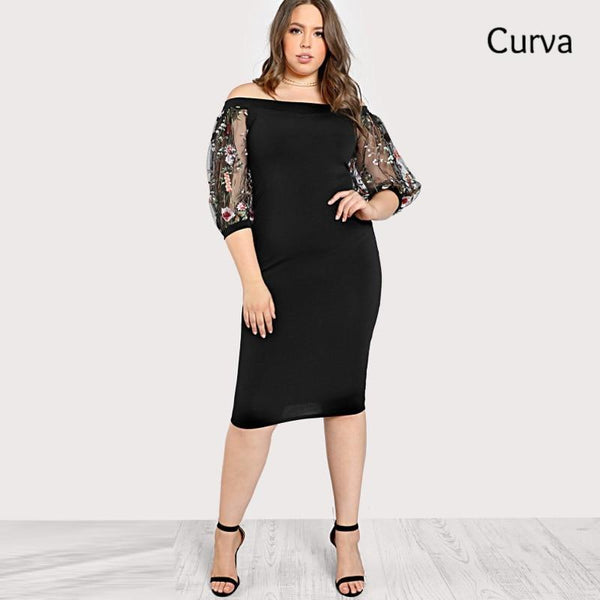 Monica Curva, Applique Mesh Flower Dress, Multi